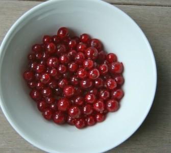 Romige kwark met rode bessen